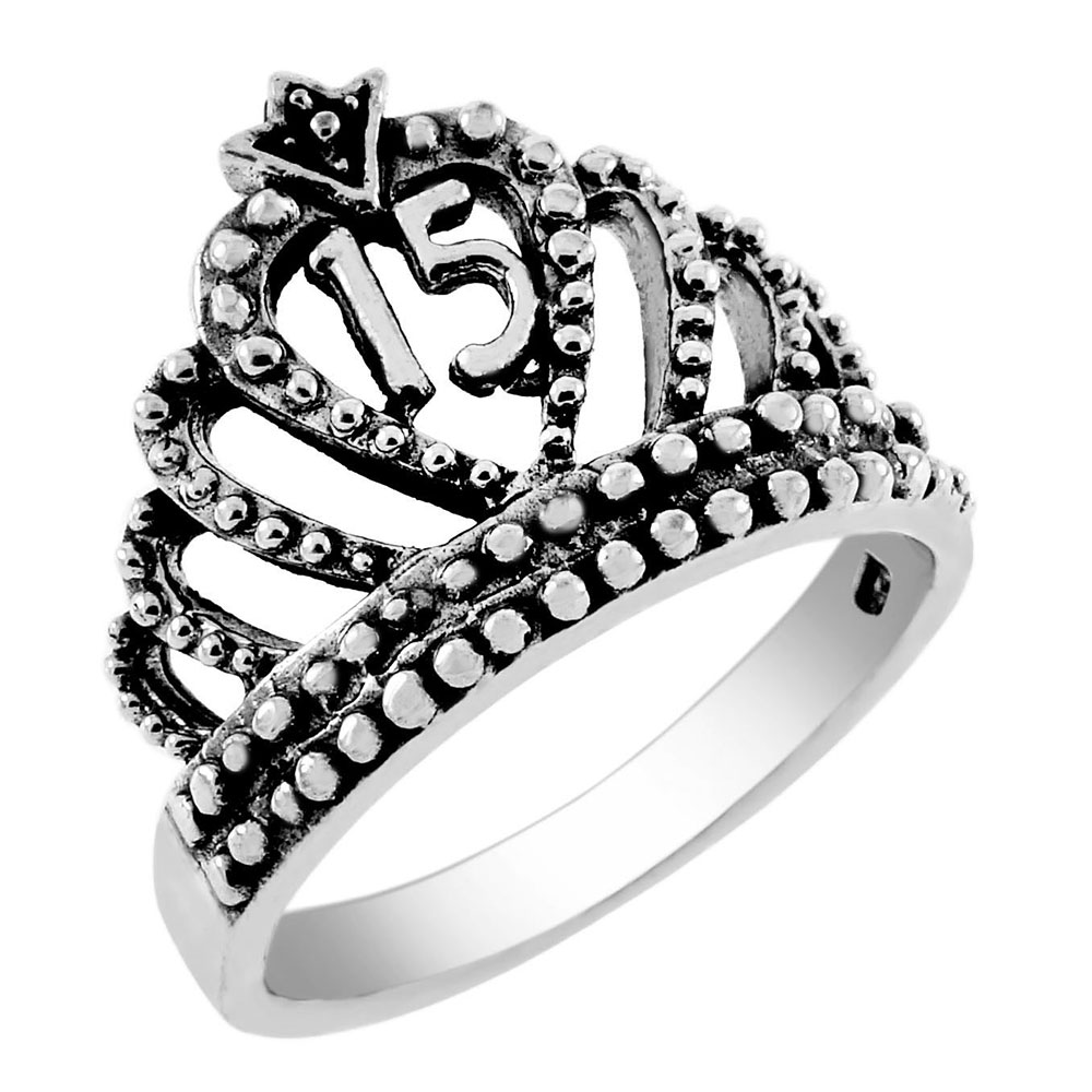 Sterling Silver Oxidized 15-Crown Ring