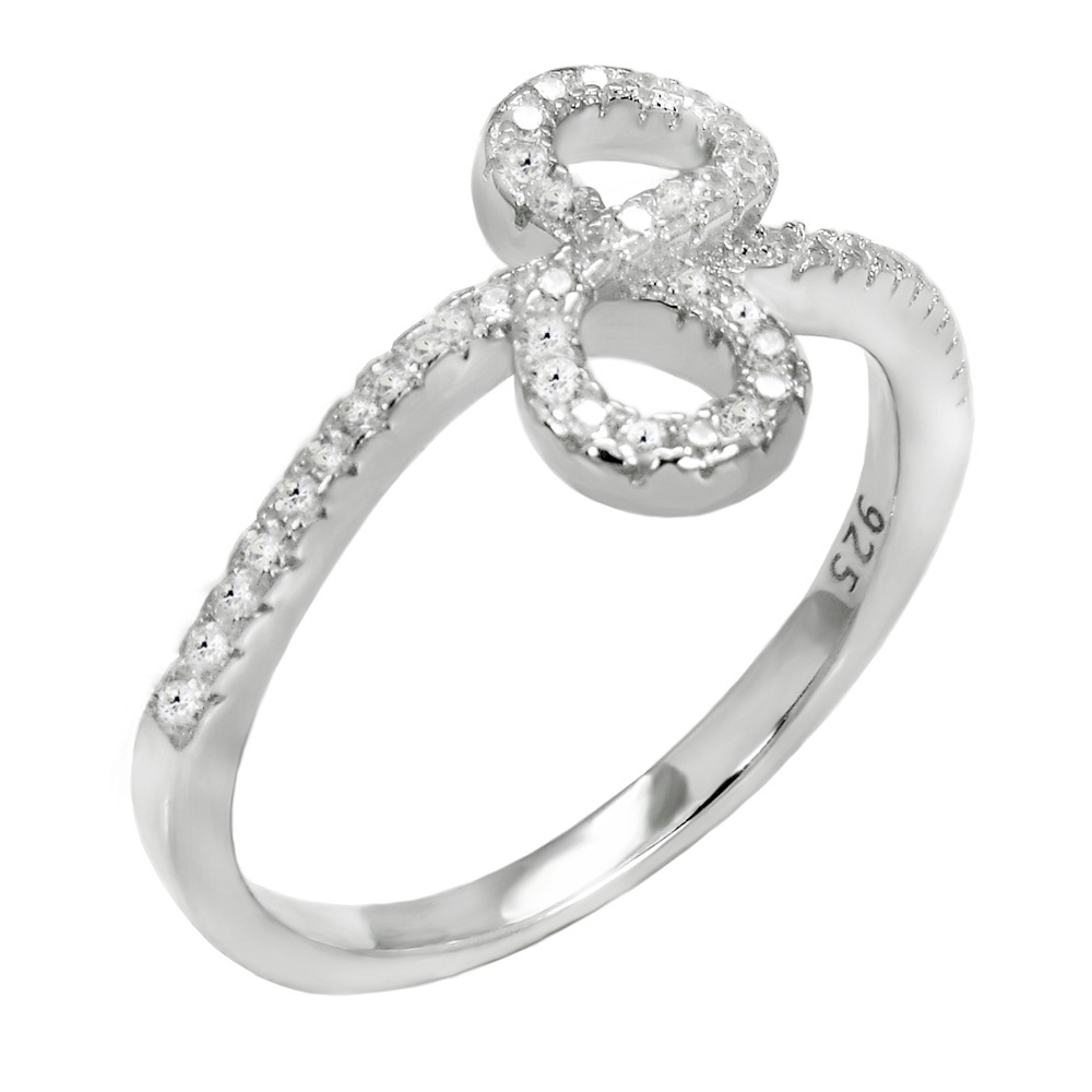 Sterling Silver Pave Cubic Zirconia Infinity Ring