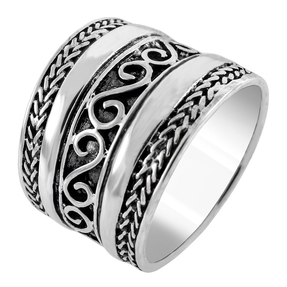Sterling Silver Bali Style Oxidized Band Ring