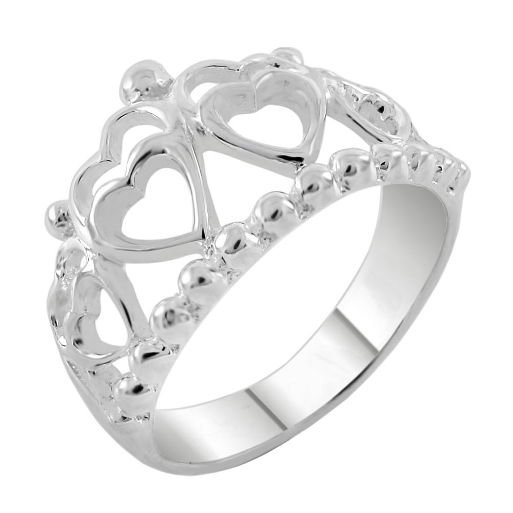 Sterling Silver Hearts Crown High Polish Ring