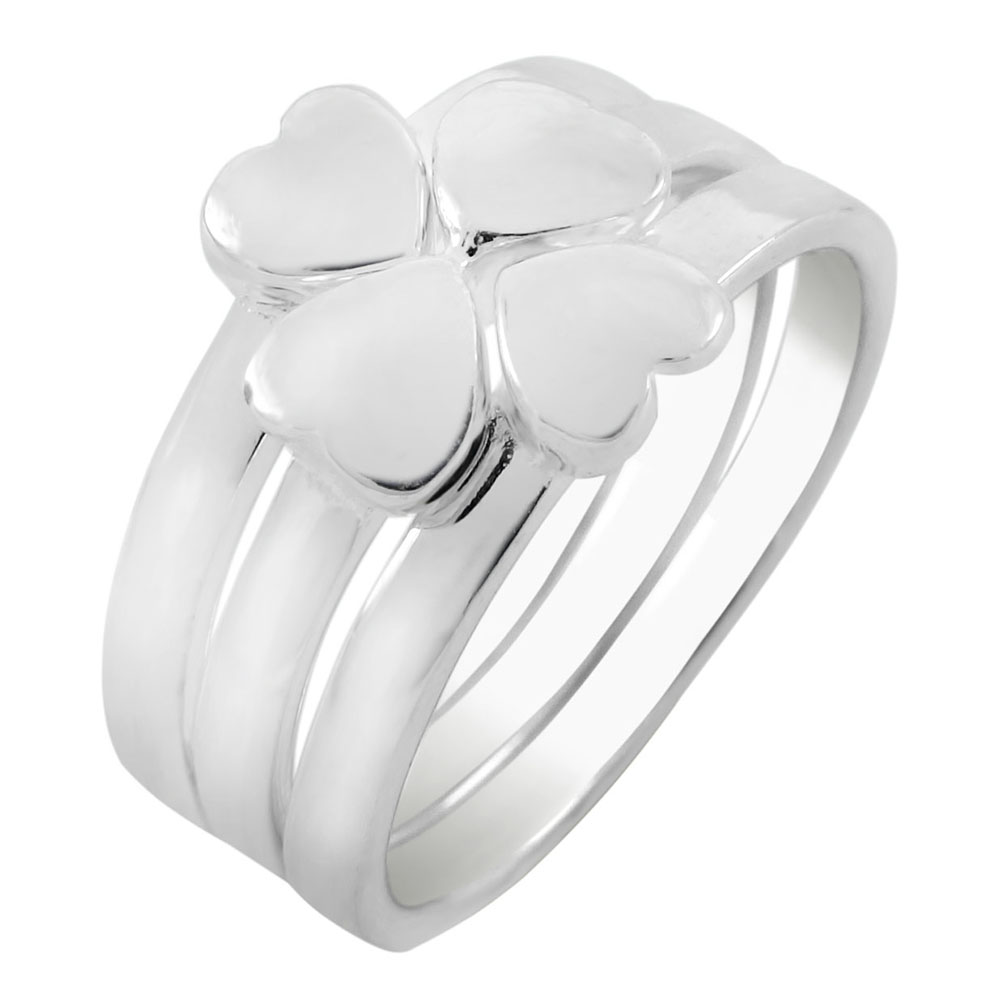 Sterling Silver Stackable Hearts 3 in 1 High Polish Ring