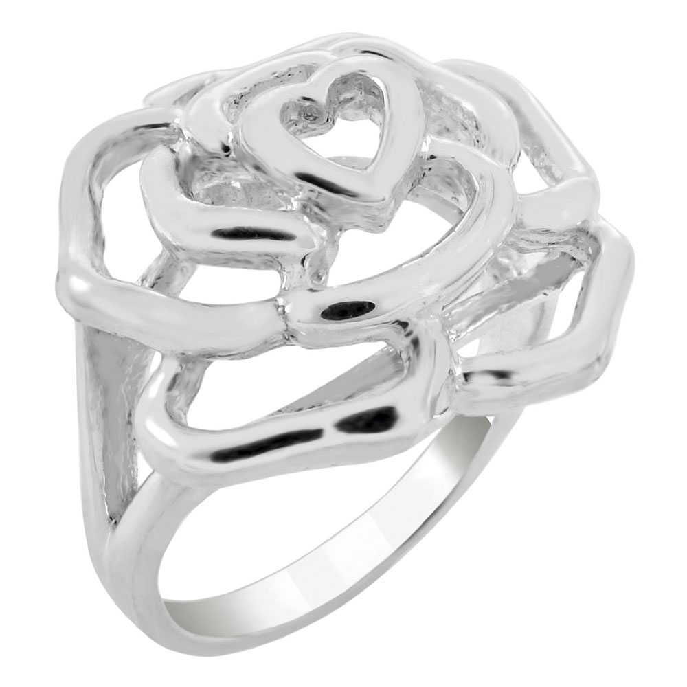 Sterling Silver Rose High Polish Ring