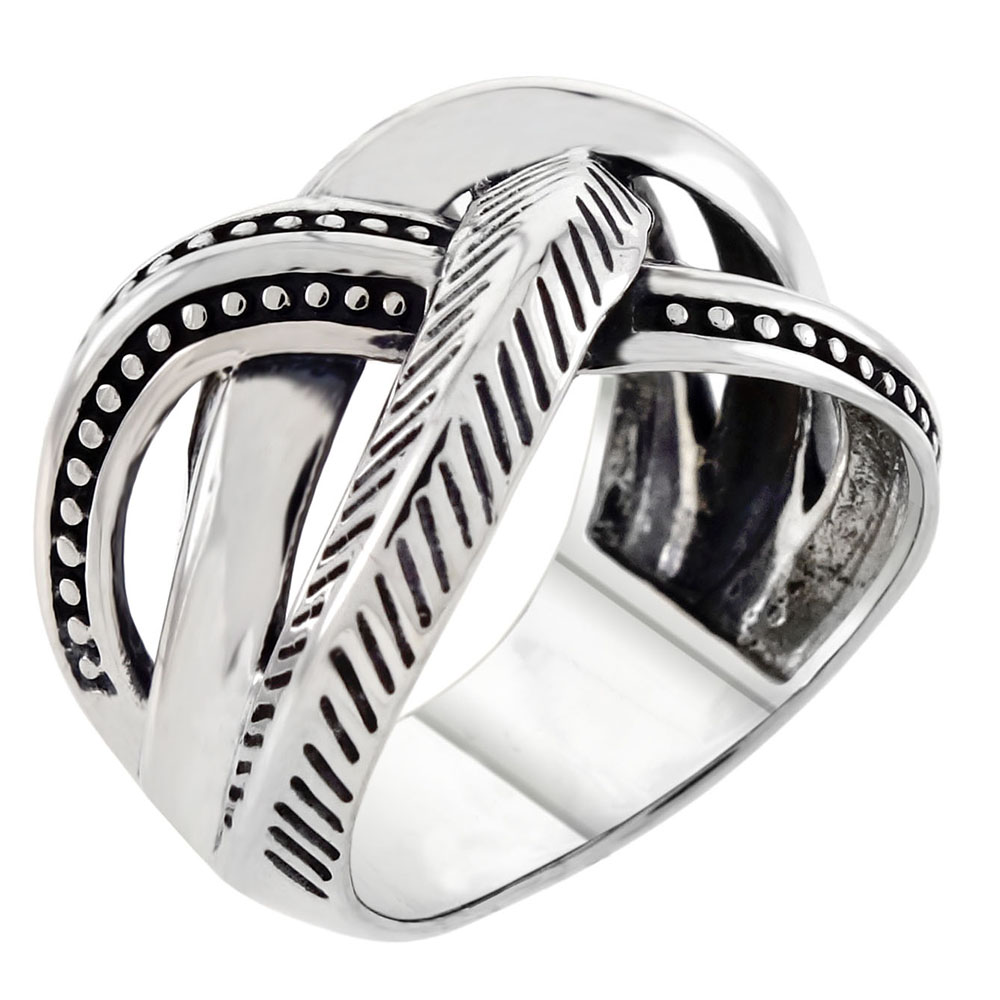 Sterling Silver Criss Cross Oxidized Ring
