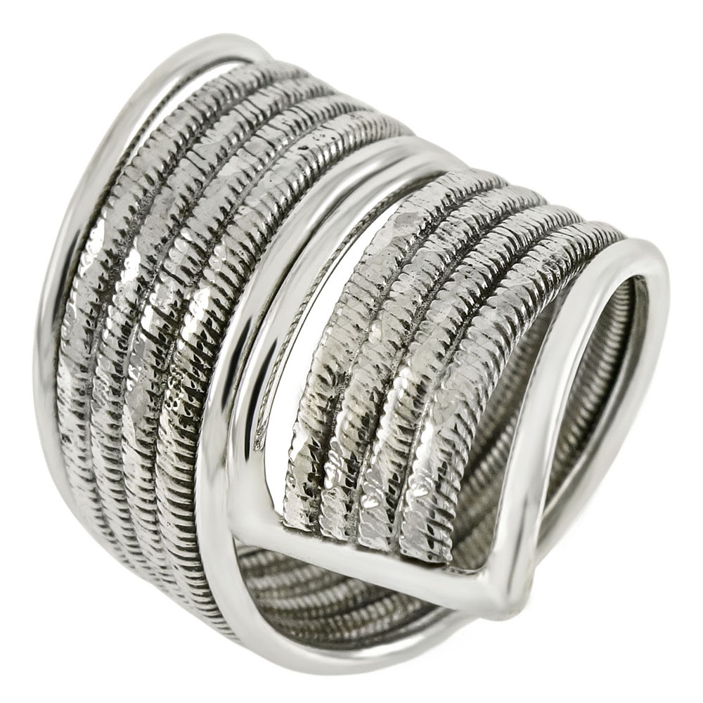 Sterling Silver Line D/C Fancy Spoon Ring Style