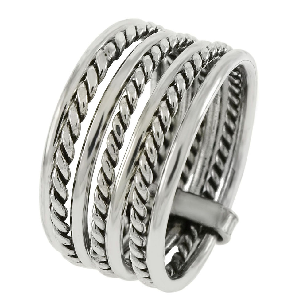 Sterling Silver 7 Band Stacked Ring