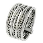 Sterling Silver Seven Day Ring Twisted & Round Wire Band