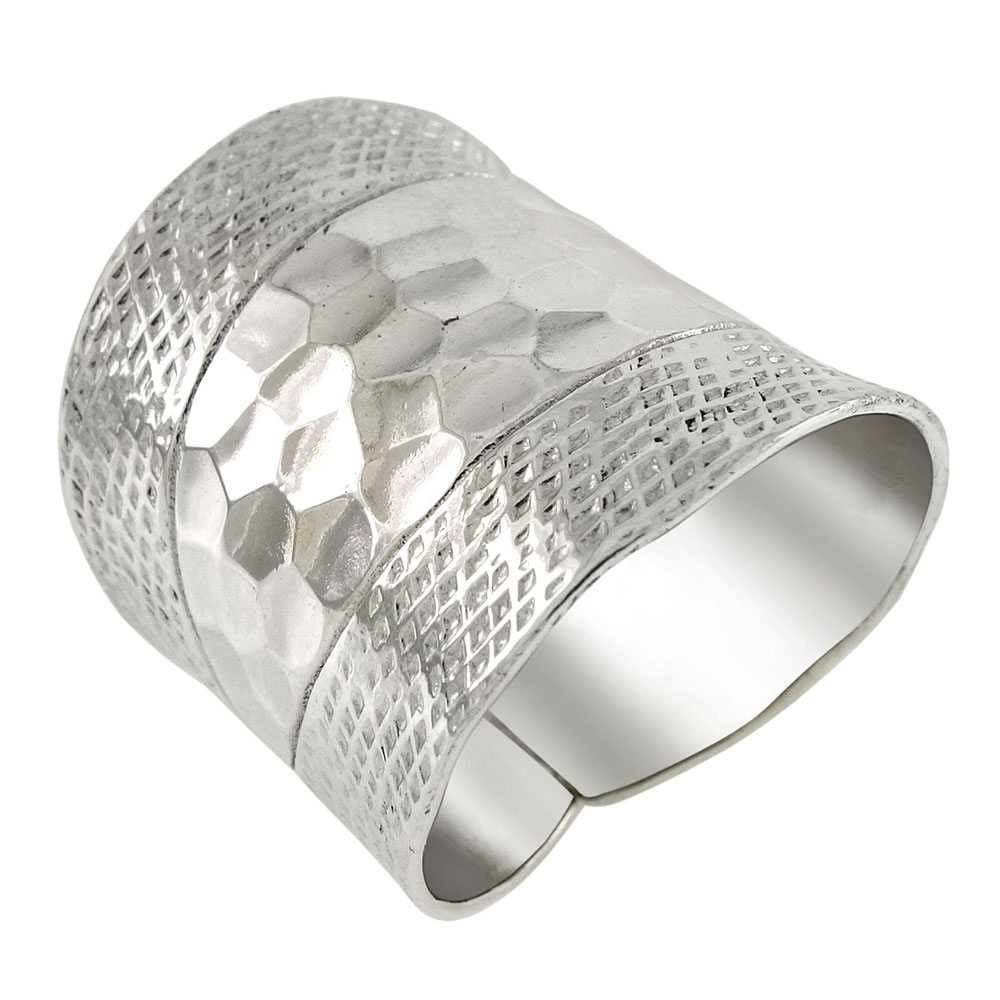 Sterling Silver Hammered-Style Cigar Band Adjustable Ring