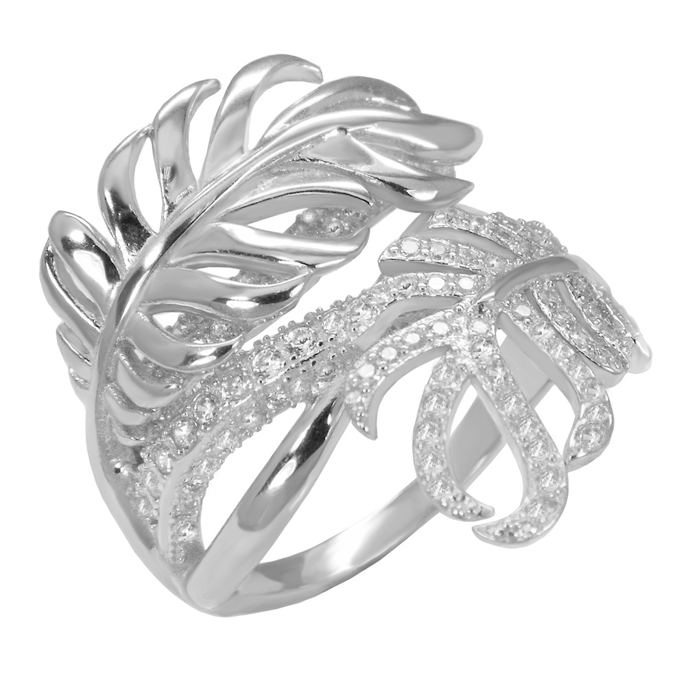 Sterling Silver Pave Cubic Zirconia Leaf Ring
