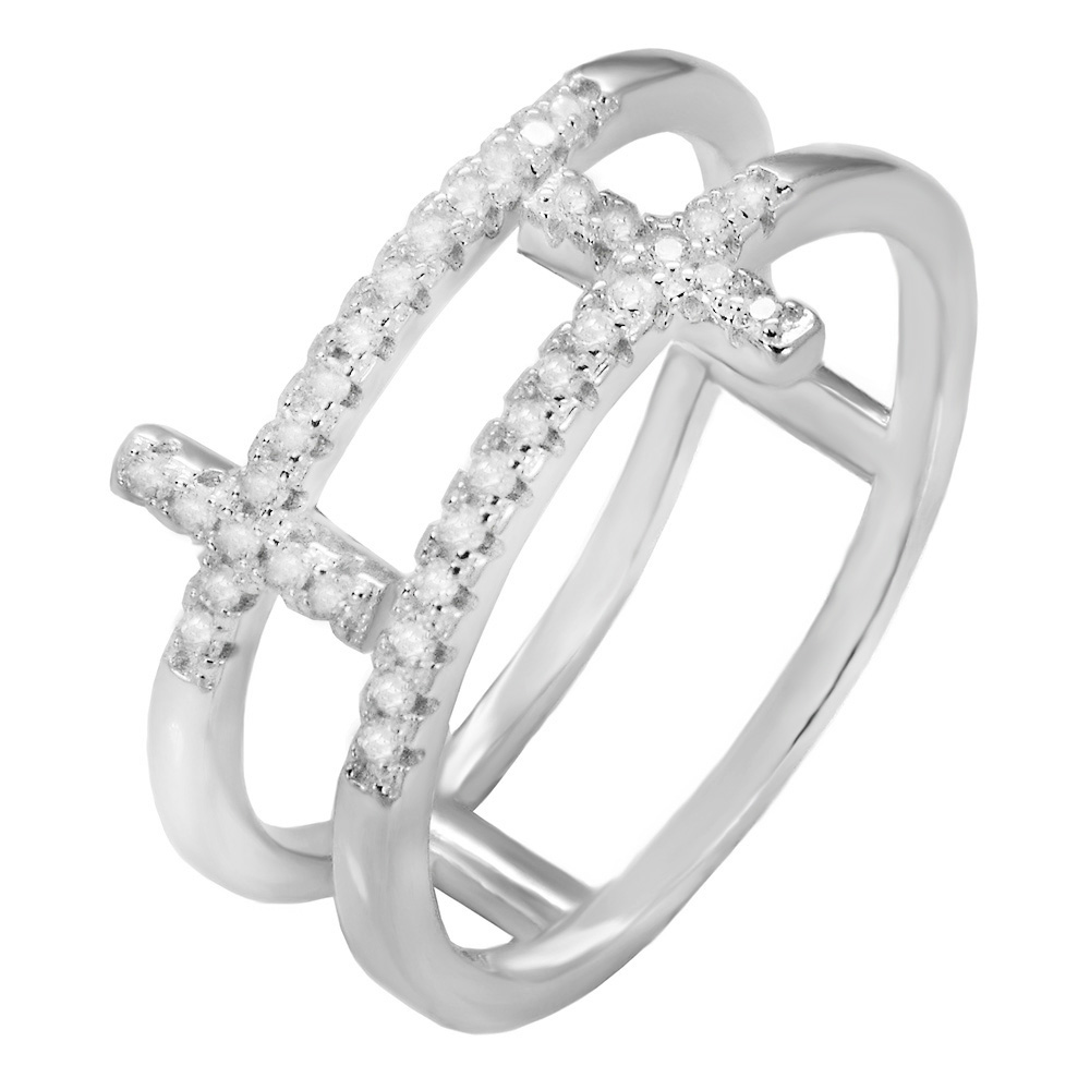 Sterling Silver Cubic Zirconia Double Cross Ring