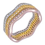 Sterling Silver Tri-Color Stackable CZ Ring Set