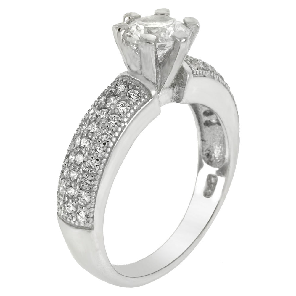 Sterling Silver 6 prongs 5.5mm Round Cubic Zirconia Engagement Ring