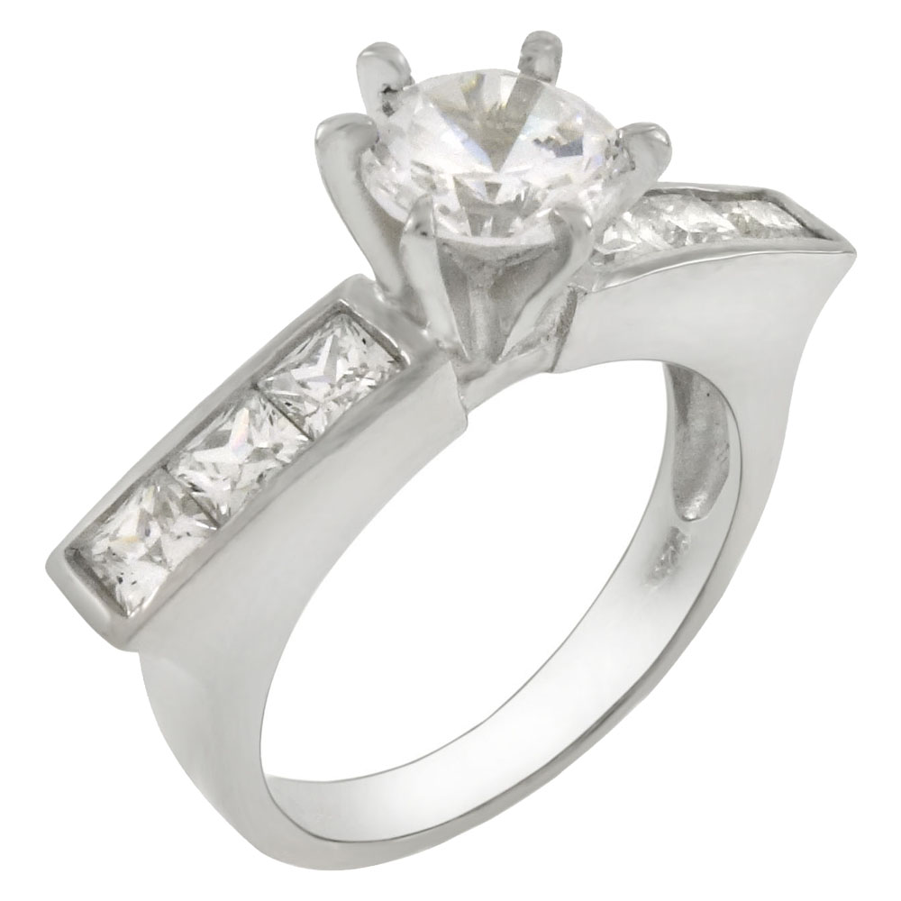 Sterling Silver 6.5mm Center-Princess CZ Ring