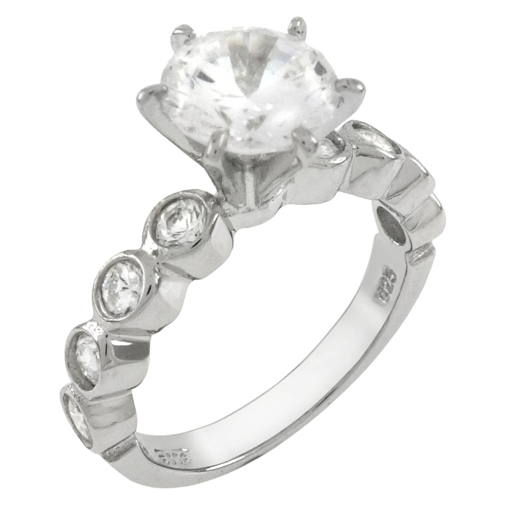 Sterling Silver Round 7.5mm CZ Bezel Setting Engagement Ring