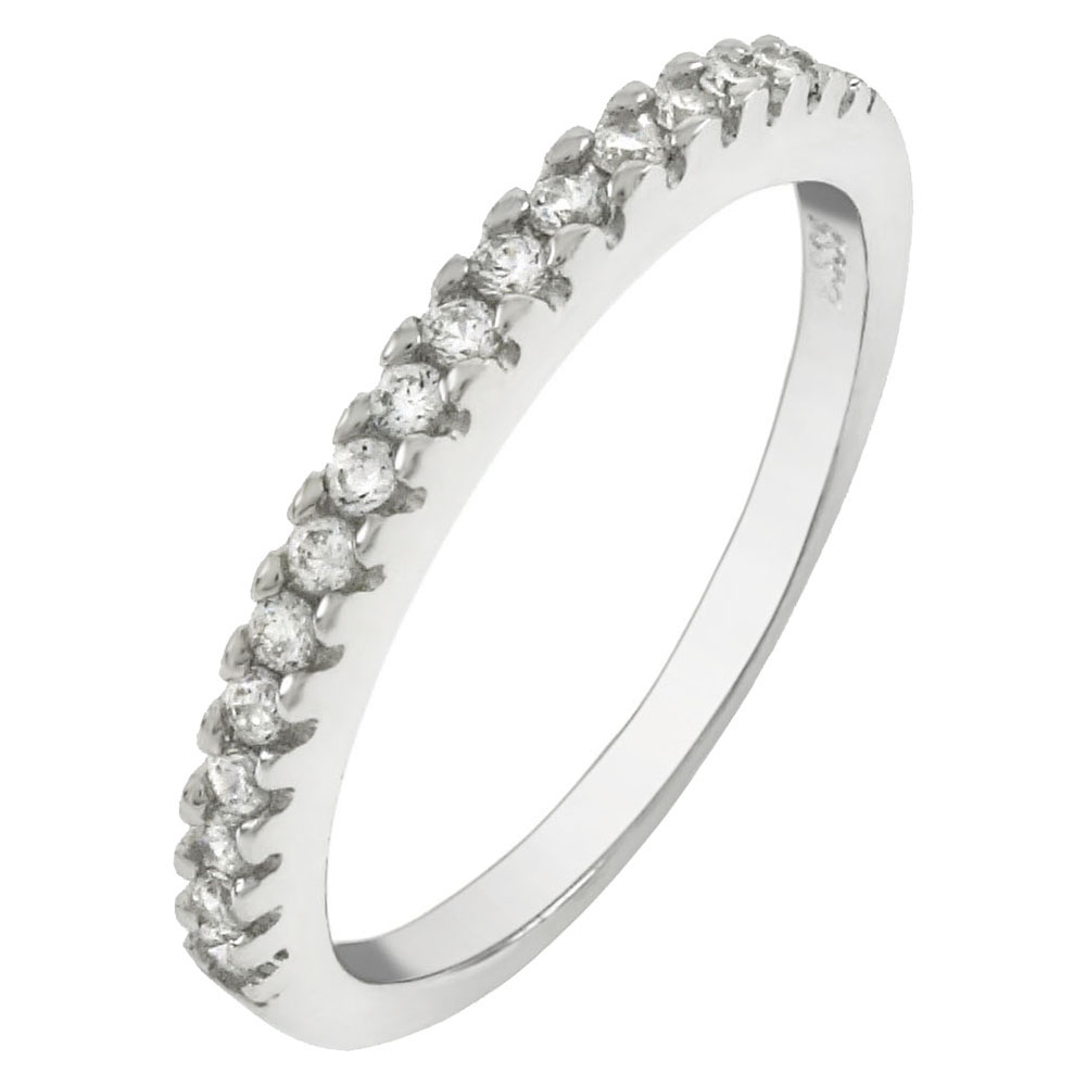 2mm Round Cubic Zirconia Pave Setting Sterling Silver Band Ring