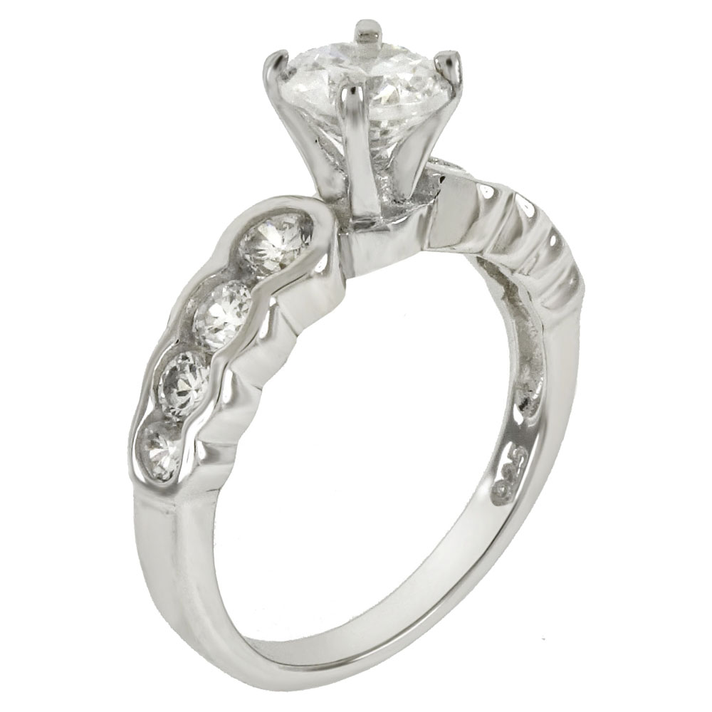 Sterling Silver 6mm Round Cubic Zirconia Engagement Ring