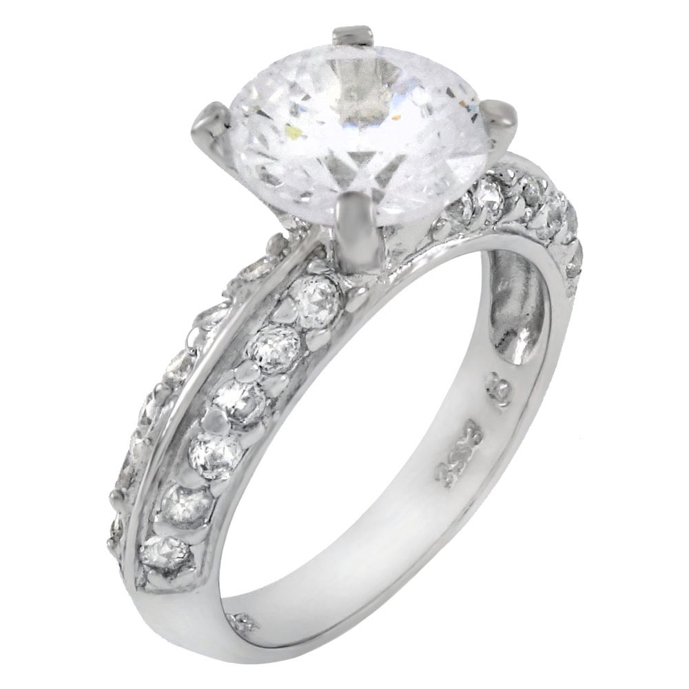 Sterling Silver 7.5 mm Round Cubic Zirconia Engagement Ring