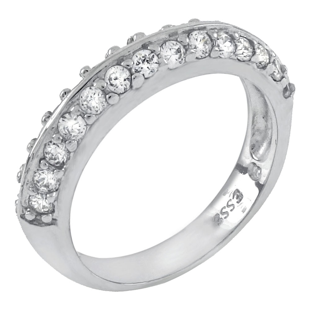 Sterling Silver Double Line Cubic Zirconia Band Ring