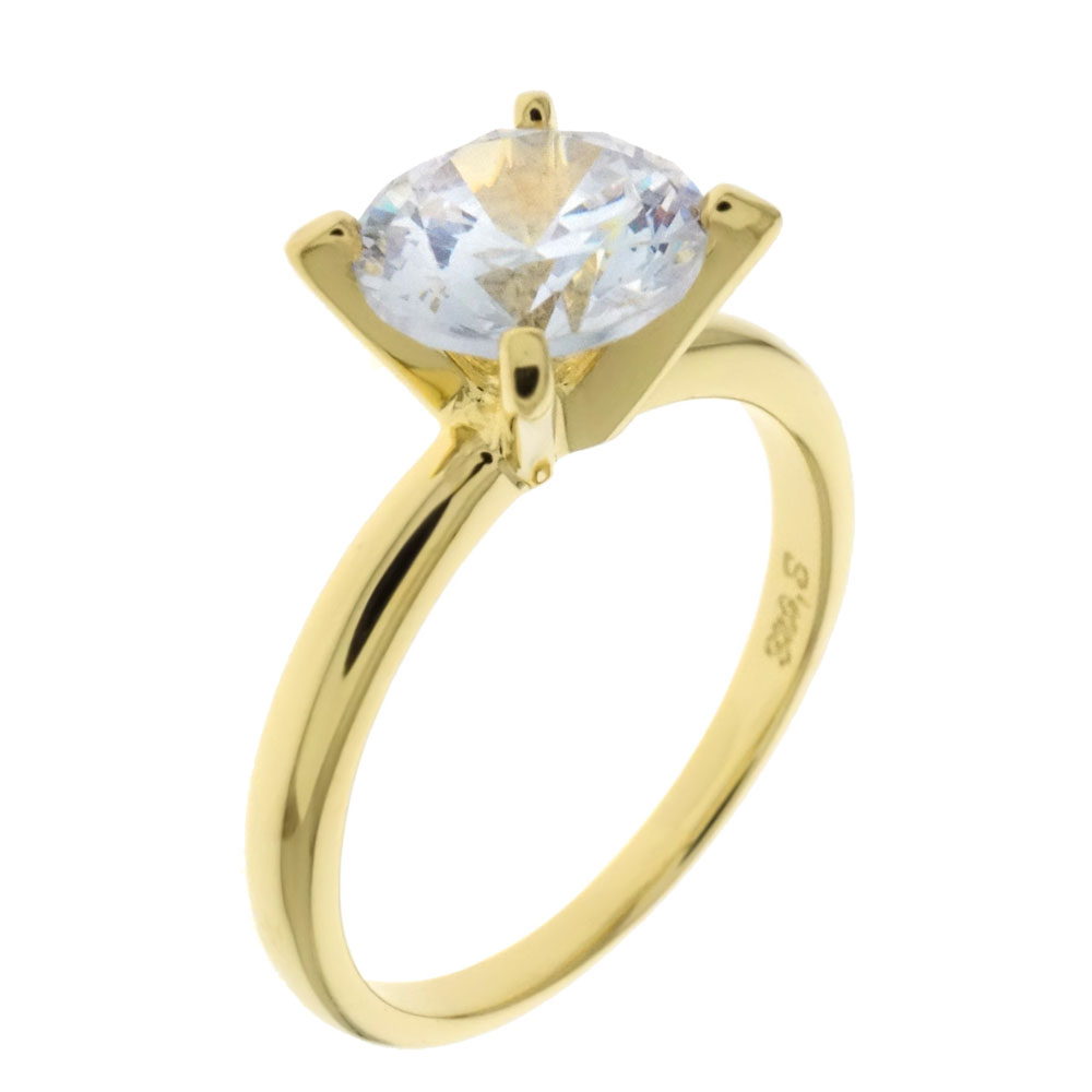 Sterling Silver 7MM CZ Solitaire Engagement Ring Gold Plated