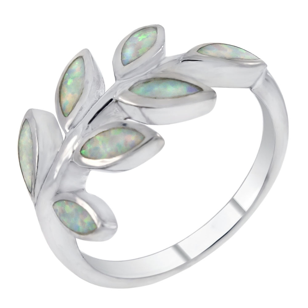 Sterling Silver Simulated White Opal Olive Branch Ring