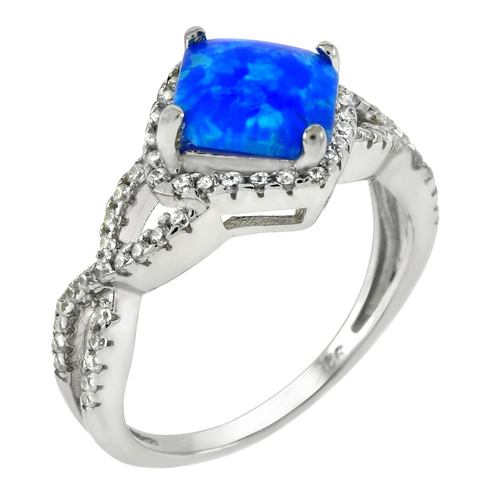 Sterling Silver Simulated Blue Opal W. CZ Ring