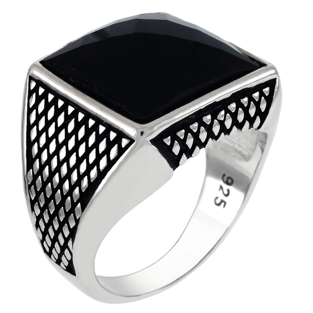 Sterling Silver Square Cushion Faceted Black Onyx Ring