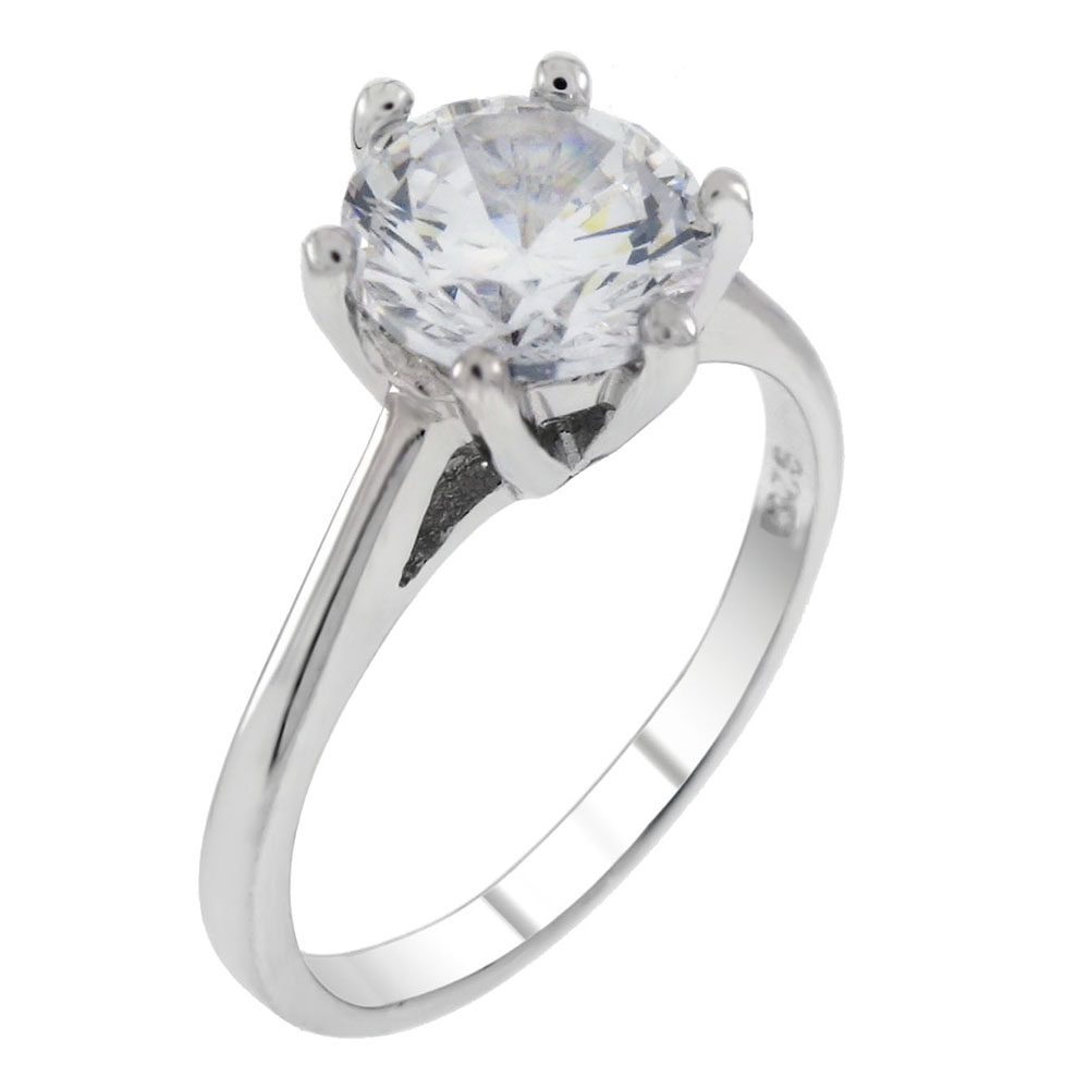Sterling Silver Round CZ Solitaire Engagement Ring