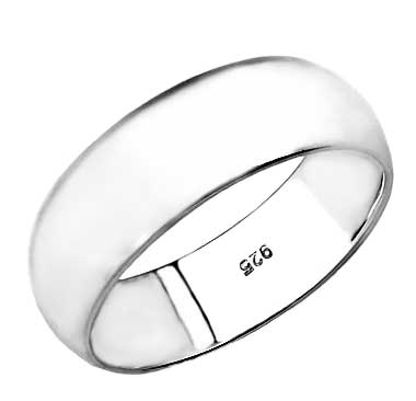 .925 Sterling Silver 8MM Plain Wedding Band Ring