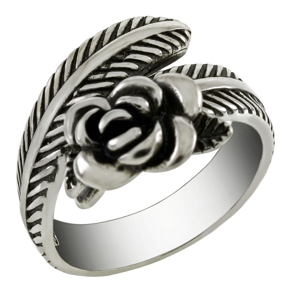Sterling Silver Adjustable Oxidized Rose On Feather Ring