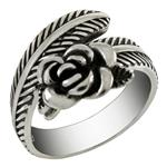 Sterling Silver ROSE On Feather Oxidized Adjustable Ring