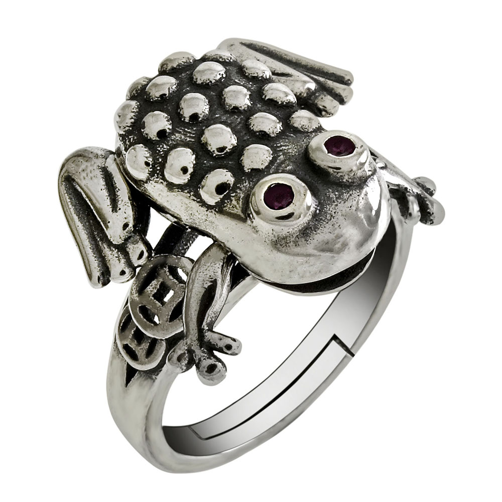 Sterling Silver Moveable Oxidized Red Eye Frog Ring