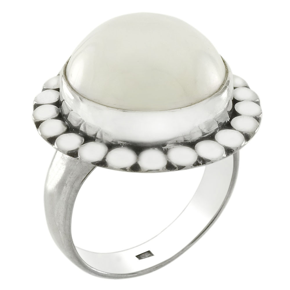 Sterling Silver Bali Mabe Pearl  Ring