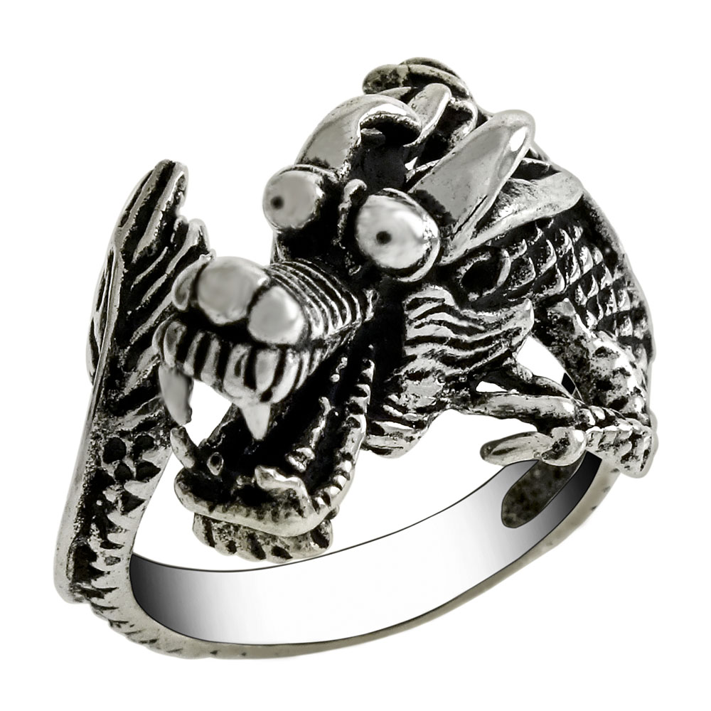 Sterling Silver Adjustable Oxidized Dragon Ring