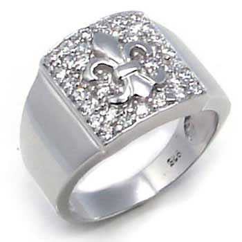 .925 Sterling Silver Cubic Zirconia Fleur De Lis Men Ring