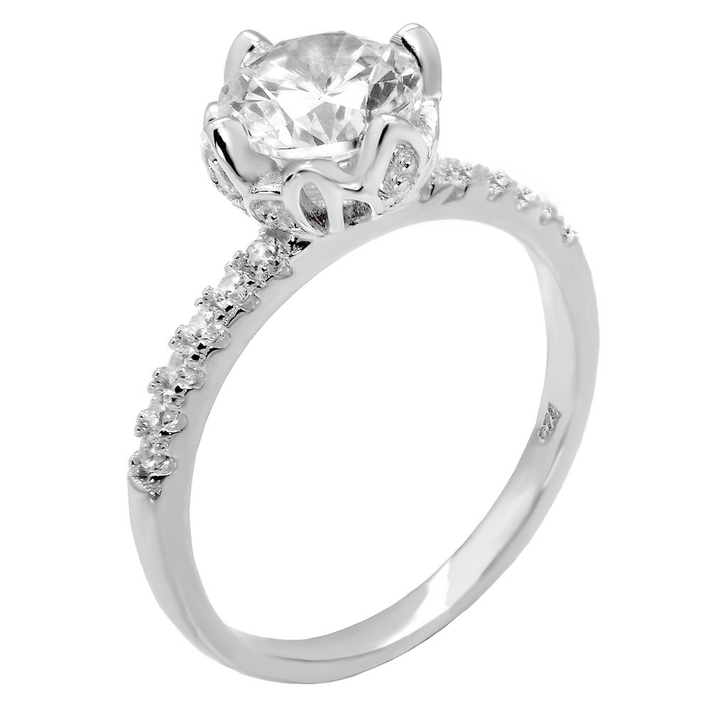 Sterling Silver 7MM Round CZ Solitaire Engagement Ring