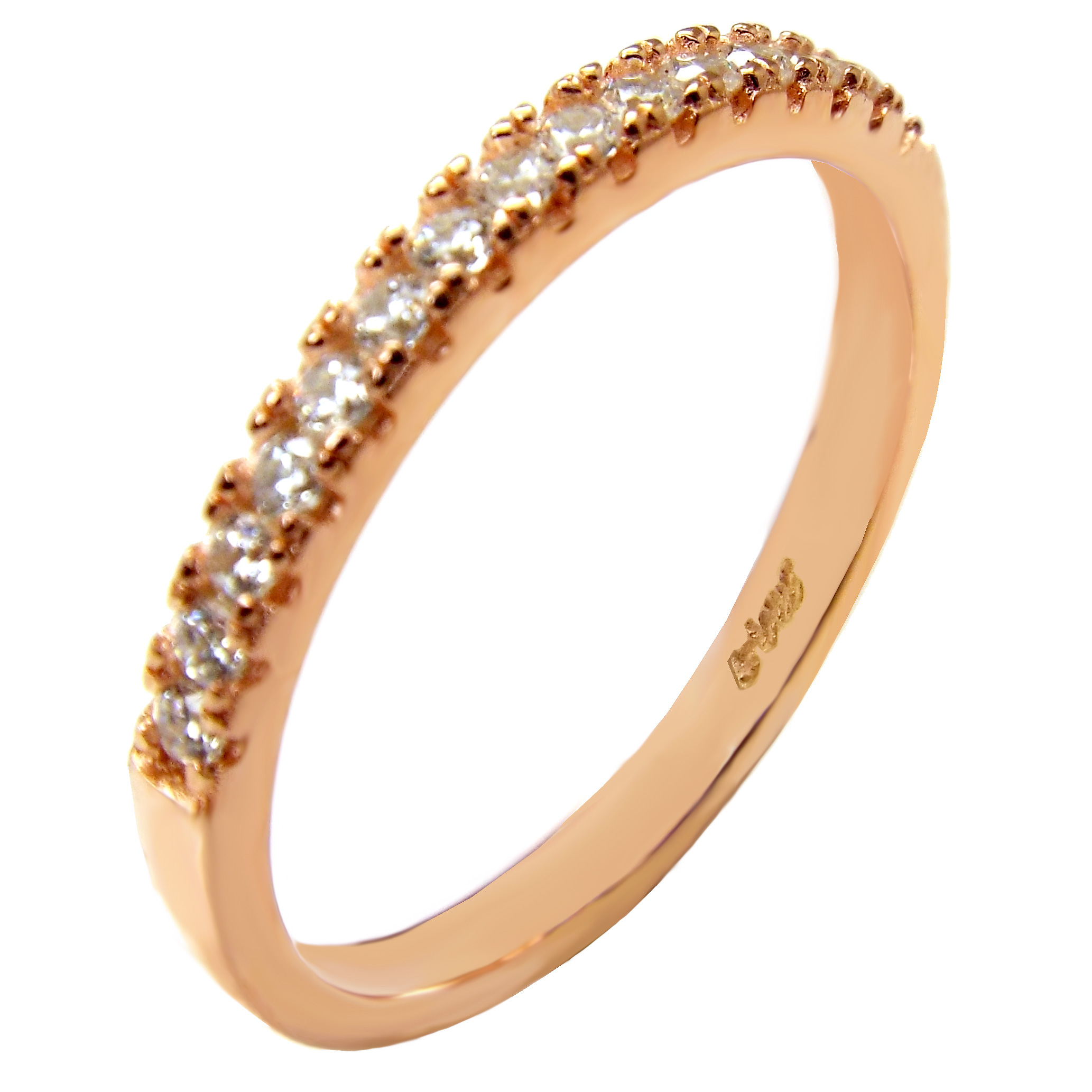 Sterling Silver 2mm Cubic Zirconia Rose Gold Plated Band Ring