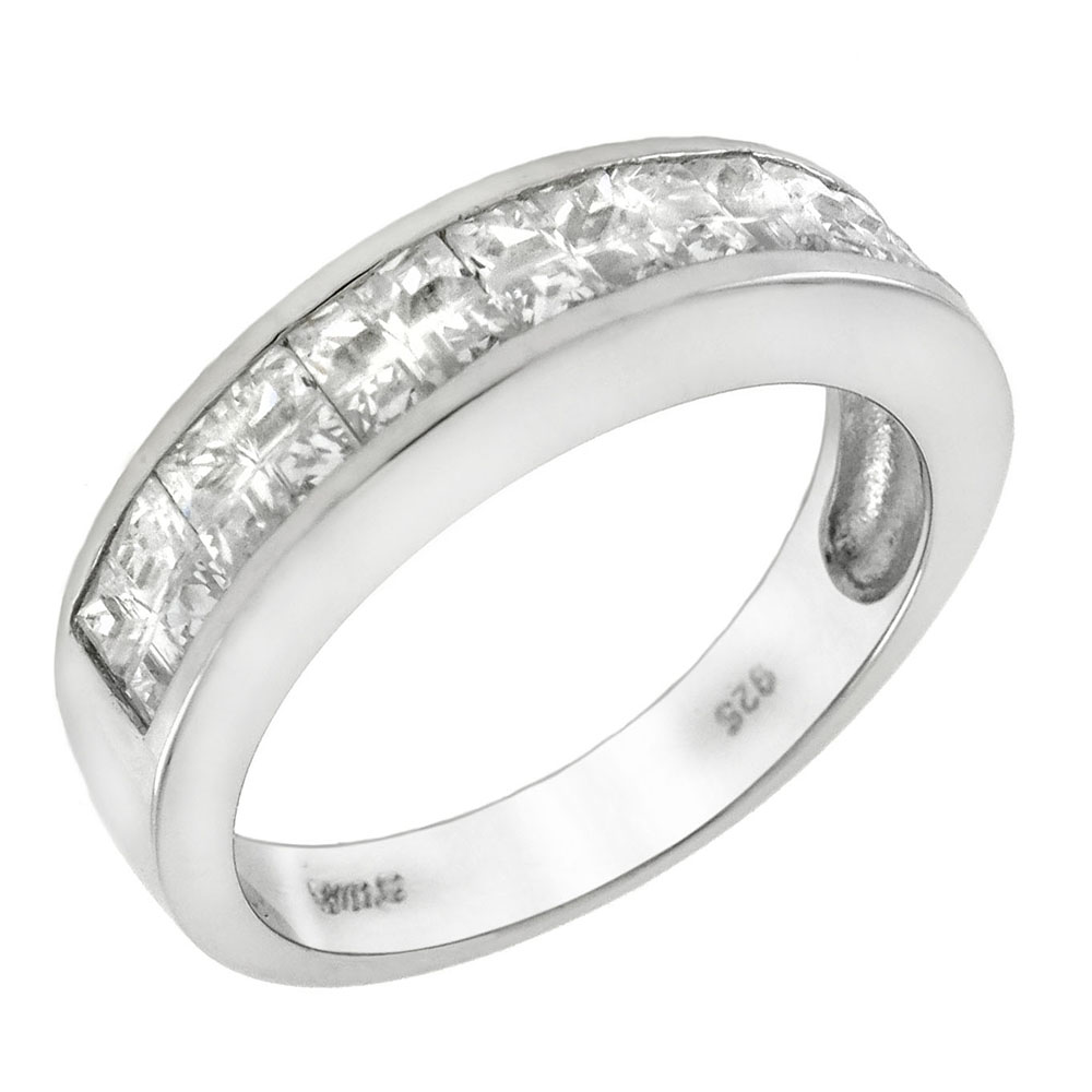 Sterling Silver SQ. Invisible Cubic Zirconia Channel Set Band Ring