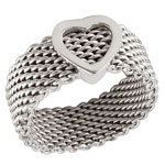 Sterling Silver Heart Mesh Ring
