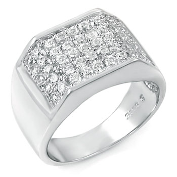 Sterling Silver Cubic Zirconia Man Ring