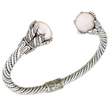 Sterling Silver Bali Mother Pearl Hand Made Bangle