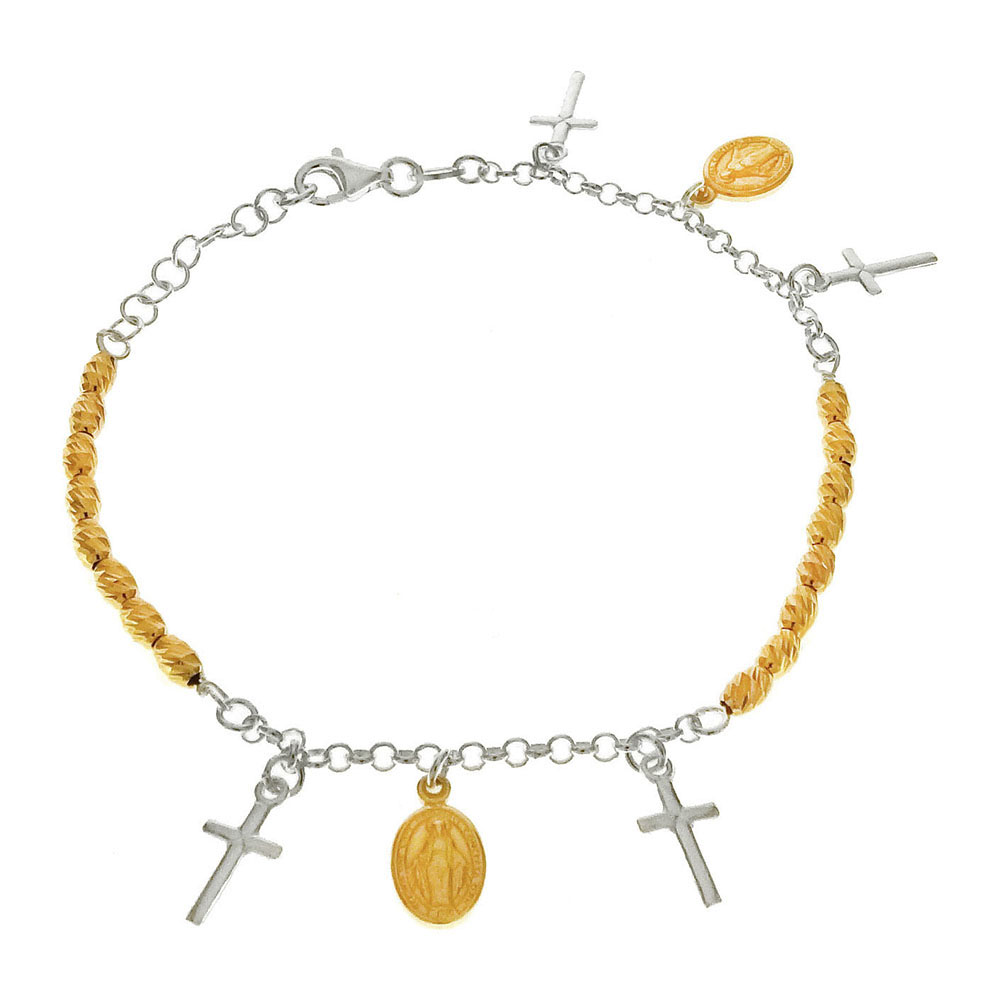 Italian Sterling Sillver Two Tone Religous Charms Bracelet