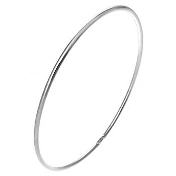 Sterling Silver 2mm Round Tube Rhodium Bangle