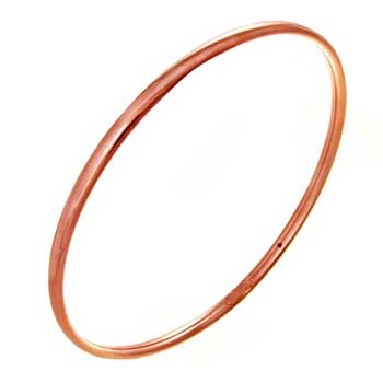 Italian Sterling Silver 4mm Rose Gold Plated Bangle