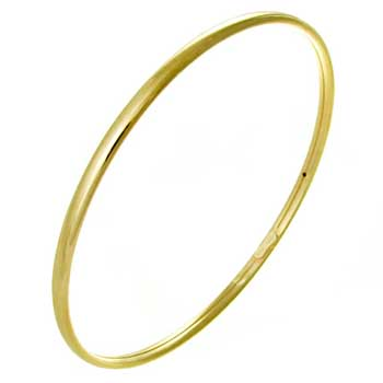 Italian Sterling Silver 4mm Gold Plated Bangle