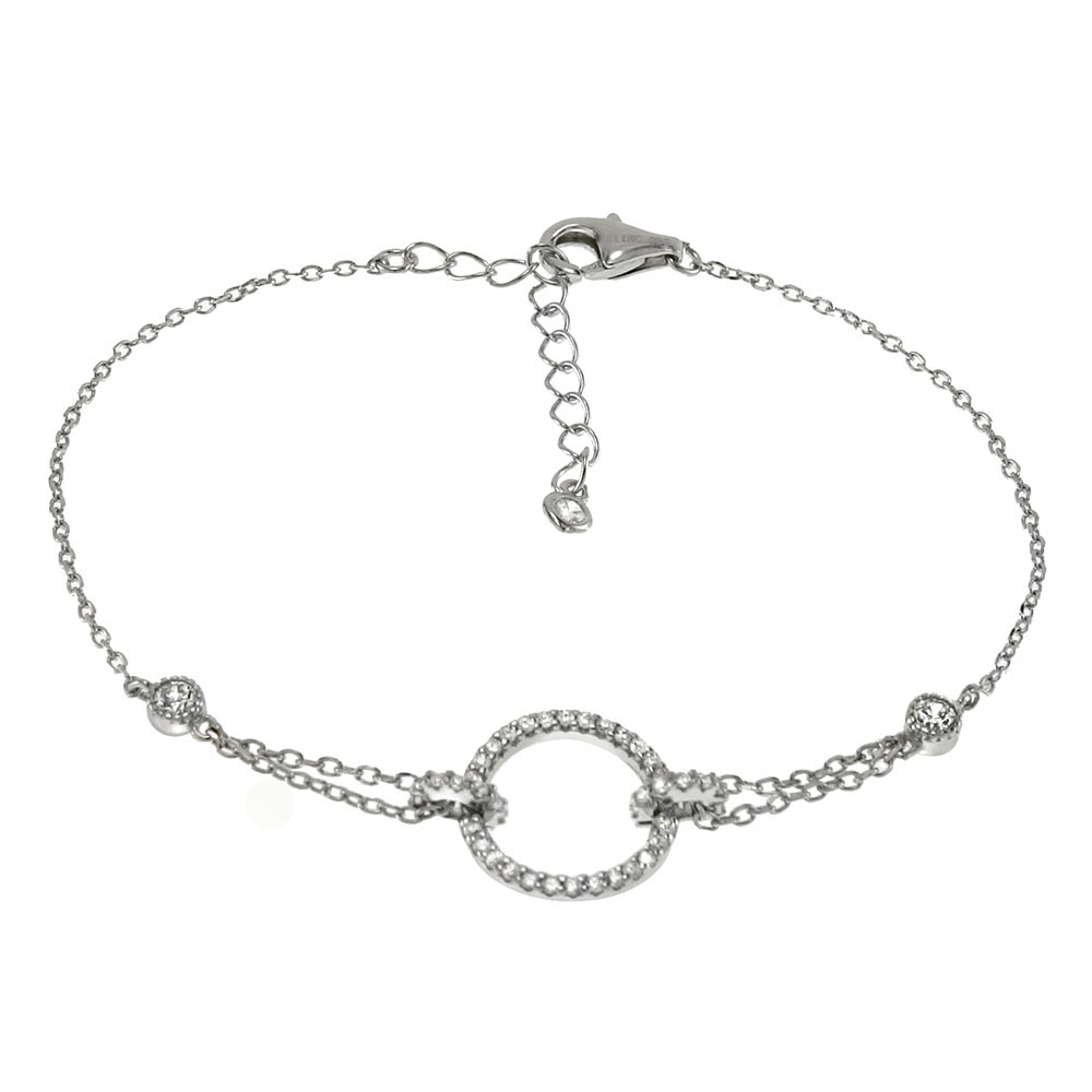Sterling Silver Circle Cubic Zirconia W. Rolo D/C Bracelet