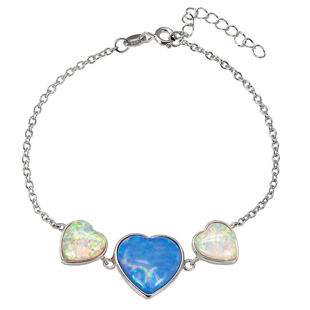 Sterling Silver Simulated Blue & White Heart Opal  Rhodium Bracelet
