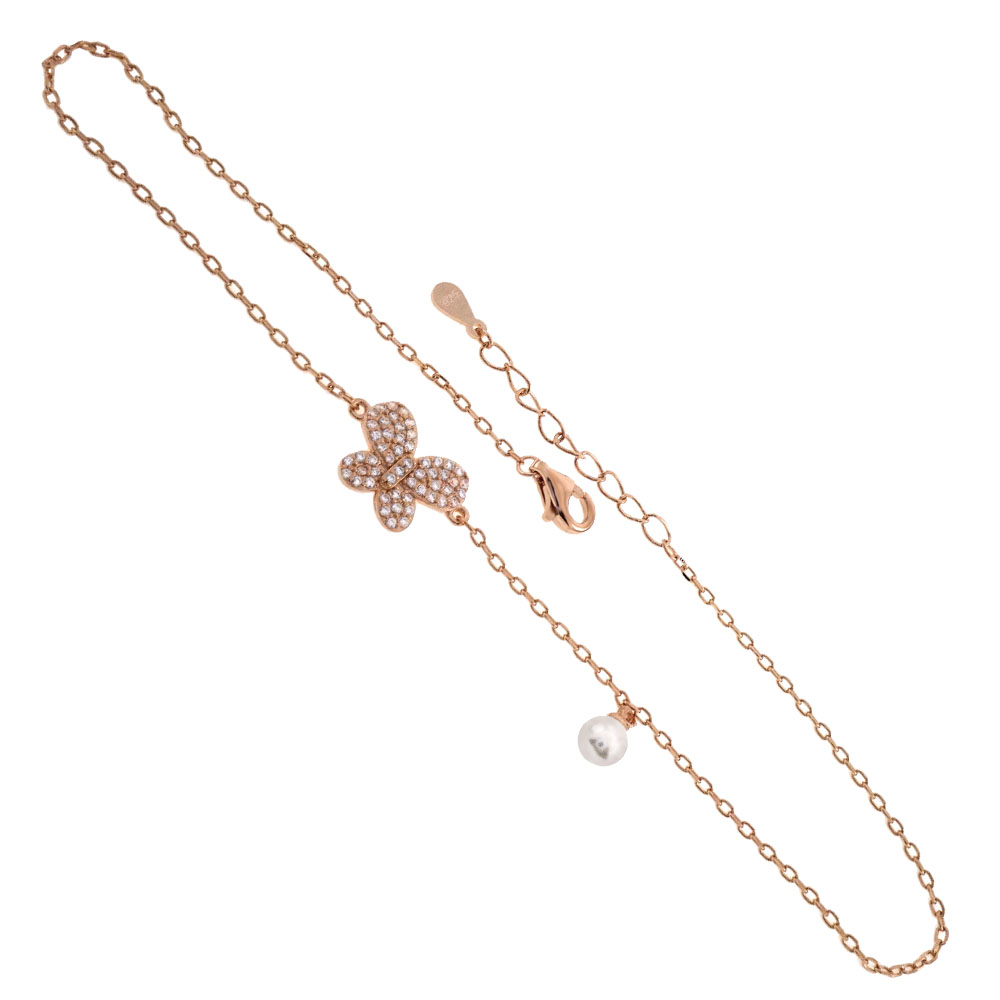 Sterling Silver CZ Butterfly W. Imitation Pearl Rose Gold Plated Anklet