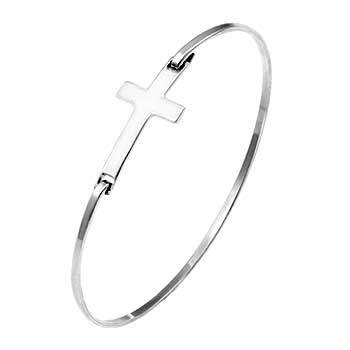 Sterling Silver High Polished Side Cross Bangle