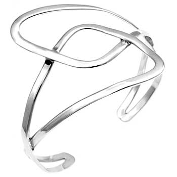Sterling Silver High Polish Cuff Bangle