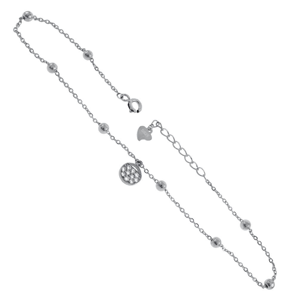 Sterling Silver D/C Rolo Bead Chain W. Dangle Round CZ Rhodium Anklet