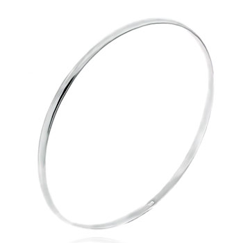 Sterling Silver 4mm Plain Rhodium Bangle